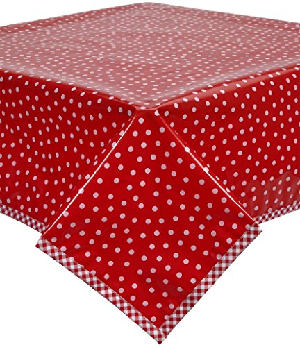 Retro Oilcloth - Freckled Sage White Dot on Red Oilcloth Tablecloth with Red Gingham Trim You Pick The Size
