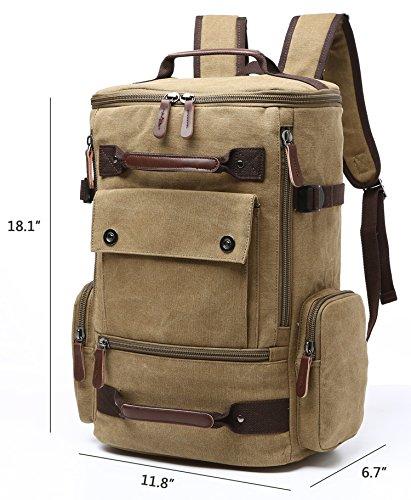 Backpack Laptop Vintage Hiking Rucksack Aidonger Khaki Unisex Canvas Backpack wZHppB