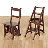 AlienTech Natural Wood Multi-functional Convertible Folding Library Ladder Chair Four Step Stool Chestnut