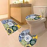 3 Piece Toilet mat Set Multi Set Islamic Portuguese Tile Patterns in Various Tones Textures 3 Piece Shower Mat Set