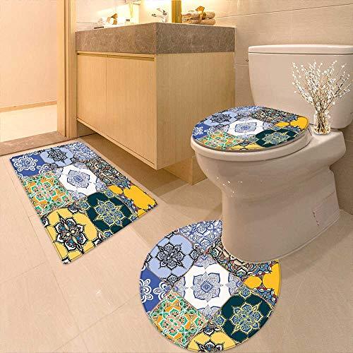 3 Piece Large Contour Mat Set Multi Set Islamic Portuguese Tile Patterns in Various Tones Textures Printed Rug Set by Printsonne