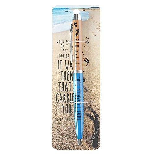 Footprints in the Sand Blue Tan Chrome Metal Twist Open Black Ink Ballpoint Pen]()