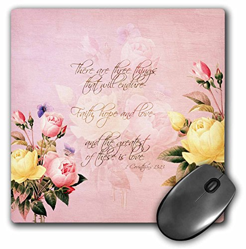 3dRose Faith, Hope & Love Bible Verse with Roses Mouse Pad, 8″ x 8″ (mp_108699_1)