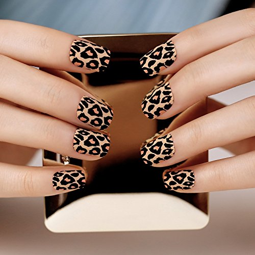 [ArtPlus 24pcs Leopard Matt Soft Touch False Nails French Manicure Full Cover Medium Length with Glue?Fake] (Red Fake Nails)