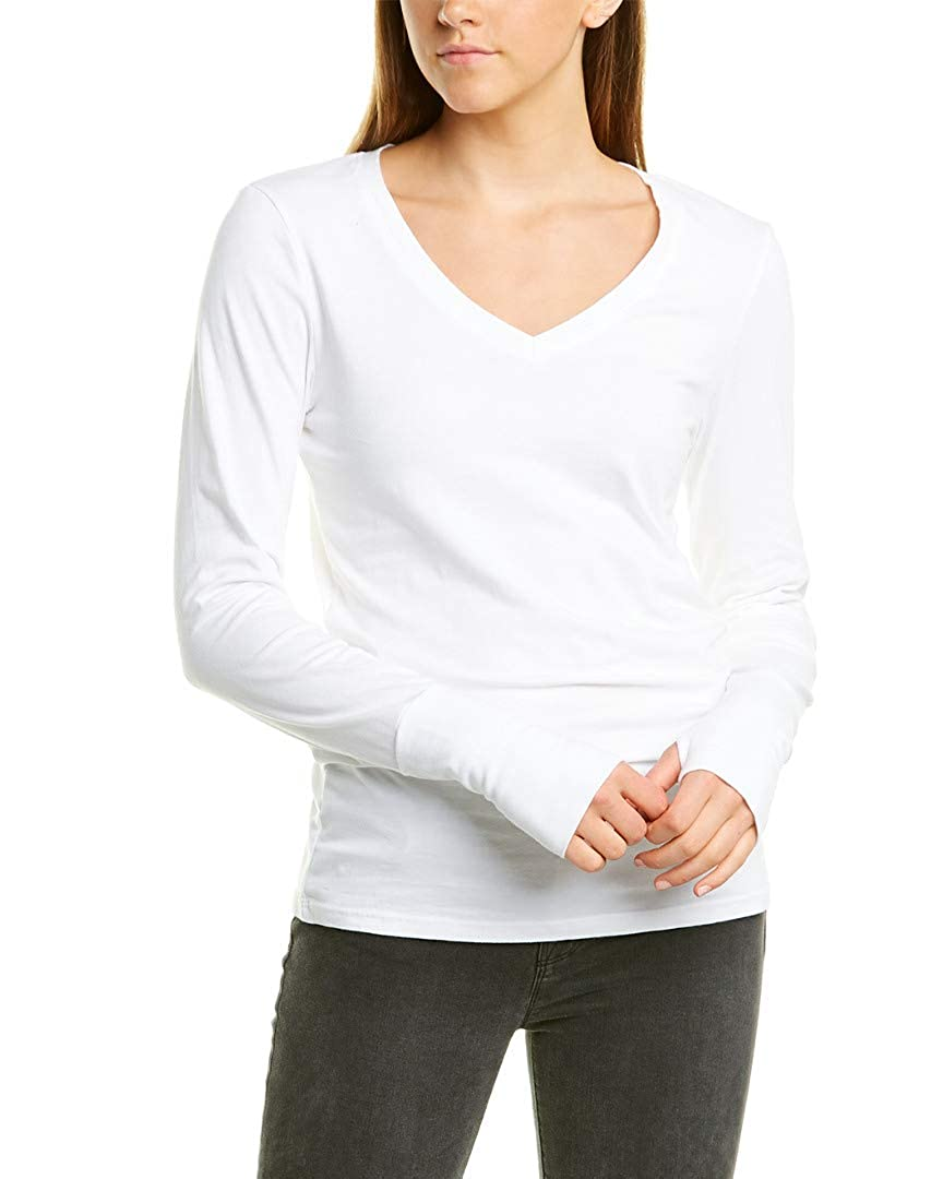 Michael Stars Womens Cotton Lycra Long Sleeve V-Neck with Thumbholes
