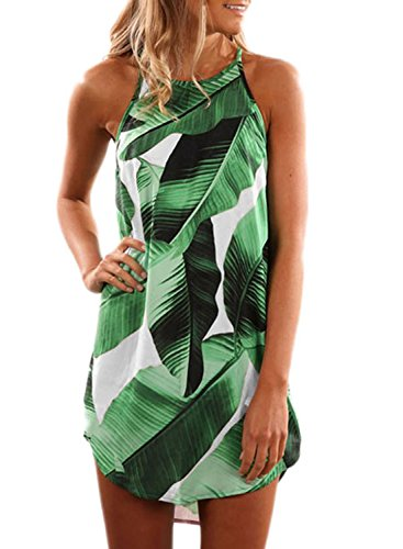 Halter Leaf Print (Asvivid Women's Summer Halter Dress Round Neck Sleeveless Floral Print Casual Straps Sundress Small Green)