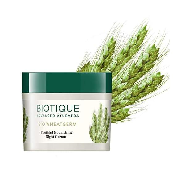 Biotique Bio WheatGerm Youthful Nourshing Night Cream for Normal to Dry Skin, 50g 2021 June Quantity: 50g; Item Form: Cream Ingredients:Ankurit gehun (Triticum stivum), Gajar (Daucus carota), Badam tail (Prunus amygdalus), Kulanjan (Alpinia galangal), Surajmukhi tail (Helianthus annuus), Cream base Q.S Gently smooth over cleansed face and body with upward strokes, morning and evening