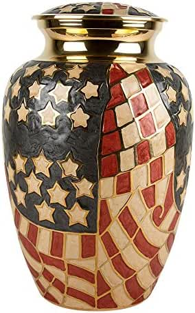 Perfect Memorials Large Old Glory Brass Cremation Urn