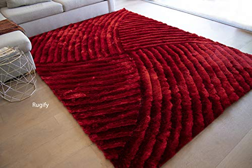 (8'x10' Feet Deep Red Dark Red Light Red Burgundy Two Tone Color Contrast Shag Shaggy Fluffy Fuzzy Furry Modern Contemporary Medium Pile Bedroom Living Room Area Rug Carpet Sale (SAD)