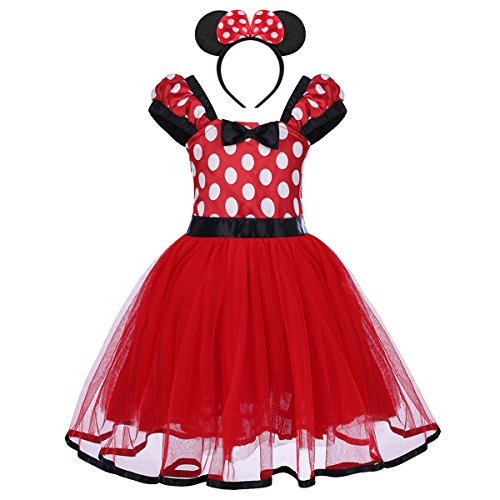 IBTOM CASTLE Baby Girls' Polka Dots Christmas Birthday Princess Leotard Party Cosplay Pageant Fancy Costume Tutu Dress up Mouse Ears Headband Red+ 3D Ears 2-3 Years
