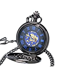 LingsFire Mechanical Pocket Watch Roman Numerals Steampunk Pocket Watch with Cool Chain Skeleton Retro Mens Pocket Watch Gift
