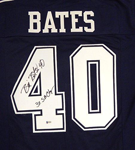 "Dallas Cowboys Bill Bates Autographed Blue Jersey ""3X SB Champs"" Beckett BAS"