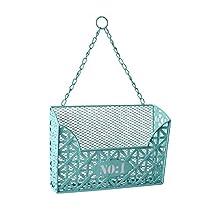 Cheungs Home Decorative Hanging Blue Rectangular Metal Basket