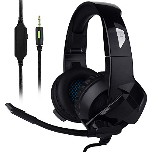 Ceppekyy Gaming Headset for Xbox One,PS4,PC,Noise Cancelling Over Ear Headphones with Mic&Stereo Surround Sound for Laptop Mac Nintendo Switch Games(Black) (black26)
