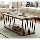 O&K Furniture Modern Industrial Cocktail Coffee Table with Lower Storage Shelf for living room & Bedroom, Vintage Brown