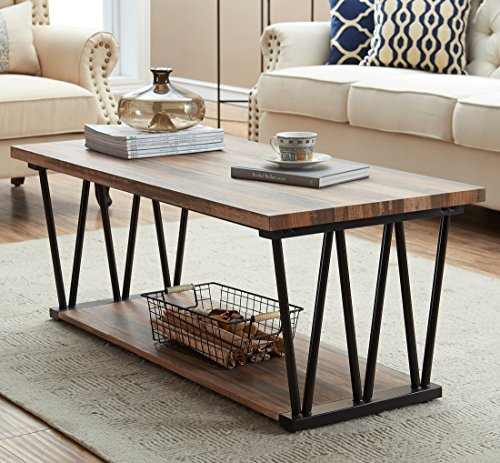 O&K Furniture Modern Industrial Cocktail Coffee Table with Lower Storage Shelf for living room & Bedroom, Vintage - Rectangular Flip Cocktail Table Top