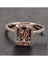 Limited Time Sale: 1.50 Carat Peach Pink Morganite (emerald cut Morganite) and Diamond Engagement Ring in 10k Rose Gold