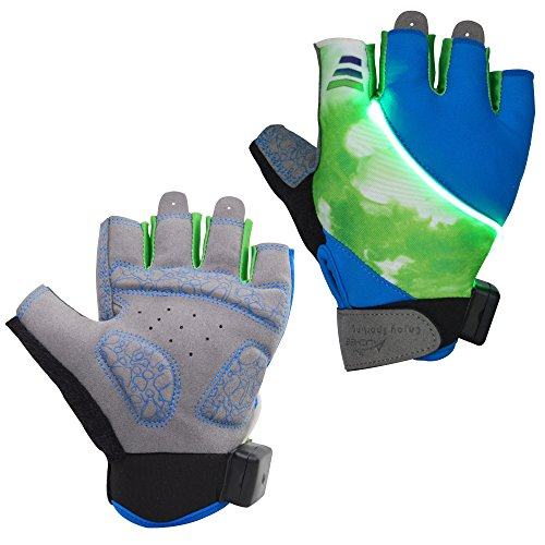 Auchee LED Turn Signal Cycling Gloves|Washable|Battery Replacable|Shock-absorbing SBR Pad|Silica Gel Grip|Breathable Lycra Half Finger Gloves for BMX Mountain Bicycle Bike Road Racing