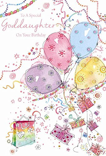 To A Special Goddaughter Presents Bag Balloon Stars Design Happy Birthday Card