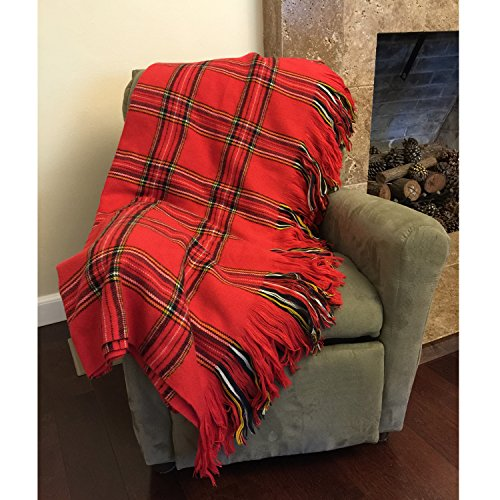 - Deluxe Knitted Throw Blanket Women Plaid checked Poncho Shawl Warm Fashion Cloak Cape Large Wrap Stylish Scotland Tartan Winter Long Scarf TH123 Red