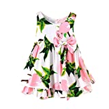 Kobay Children Girls Lemon Cartoon Print Bowknot Casual Princess Dress,Sleeveless Party Dresses Clothes Suitable for 0-4Years Old Baby(Pink,12-18Months/90)