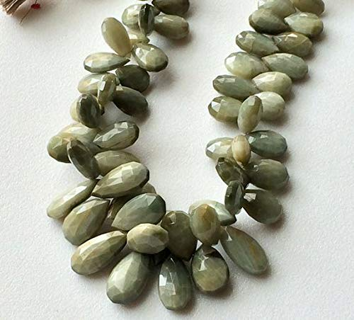 GemAbyss Beads Gemstone 1 Strand Natural Cats Eye Faceted Pear Briolettes, Green Cats Eye Beads, Chrysoberyl, Cats Eye Necklace, 6x9mm - 8x19mm, 4 Inch Code-MVG-16632 ()