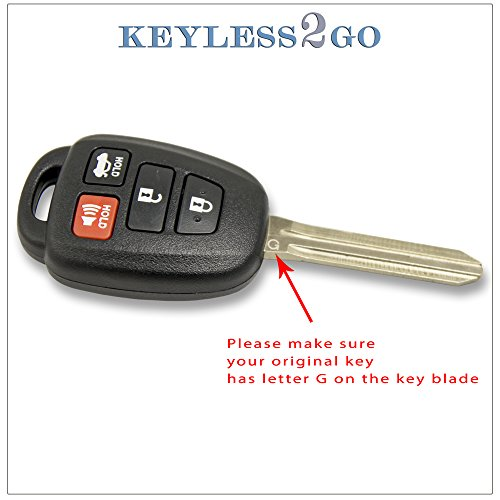 Keyless2Go New Keyless Entry Remote Car Key for Select Toyota Avalon Corolla Vehicles That Use GQ4-29T with 4D67 Chip
