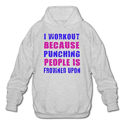 QinXi Men's I WORKOUT BECAUSE PUNCHING PEOPLE IS FROWNED UPON Funny Hoodie