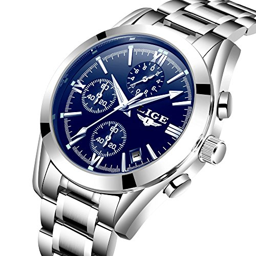 Fashion Business Quartz Watches for Men Silver Stainless Steel Strap Chronograph Date Waterproof Wrist Watch Blue Face (Blue Face Round Watch)