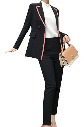 f9419294ca1 Andopa Women Premium Raw Cut Hem 2 Button Dinner Jacket & Pants Set Black  2XL