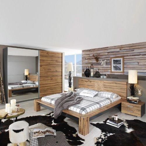 Schlafzimmerset 4-tlg »DAVOSI221« Wildeiche, graphit