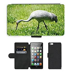 PU LEATHER case coque housse smartphone Flip bag Cover protection // M00111323 Grulla Grulla canadiense Aves Acuáticas // Apple iPhone 5 5S 5G