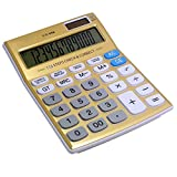 Tinhofire Gold 12 digits Office calculator computer Solar Calculator CT-990 Size 18.7 x 13.7cm
