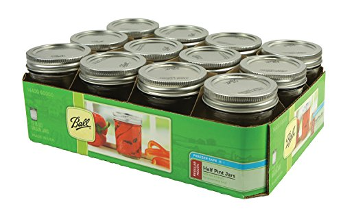 Ball 60000 Half Pint (8 oz.) Regular Mouth Mason Jars w/ Cap - Set of 12 AEP -