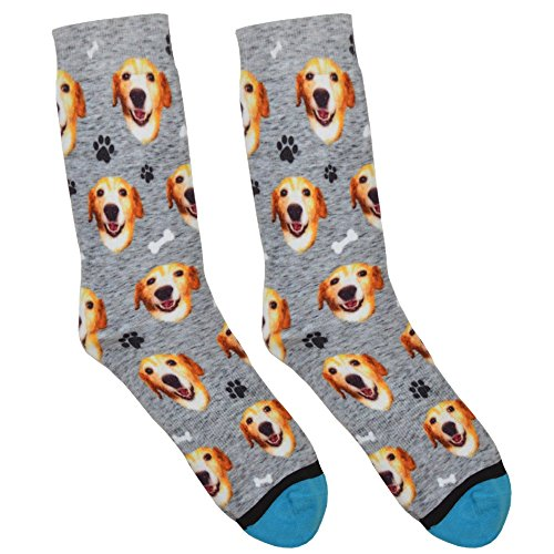 Custom Dog Socks - Put Your Dog on Socks! (Large, Heather Gray)