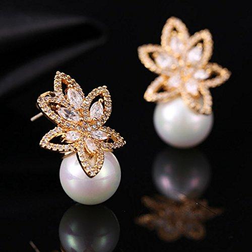 Opal Pearl Stud Earrings or Clip On Dangle Drop Earrings, Charm Jewelry Love Gift For Women Girls by SEKAYISORE (Image #5)