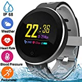 Fitness Tracker for Women Men with Blood Pressure Monitor Heart Rate Oxygen Sleep Monitor Calorie Pedometer Waterproof IP68 Smartwatch Activity Tracker Color Screen Sport Bracelet for Birthday Gifts