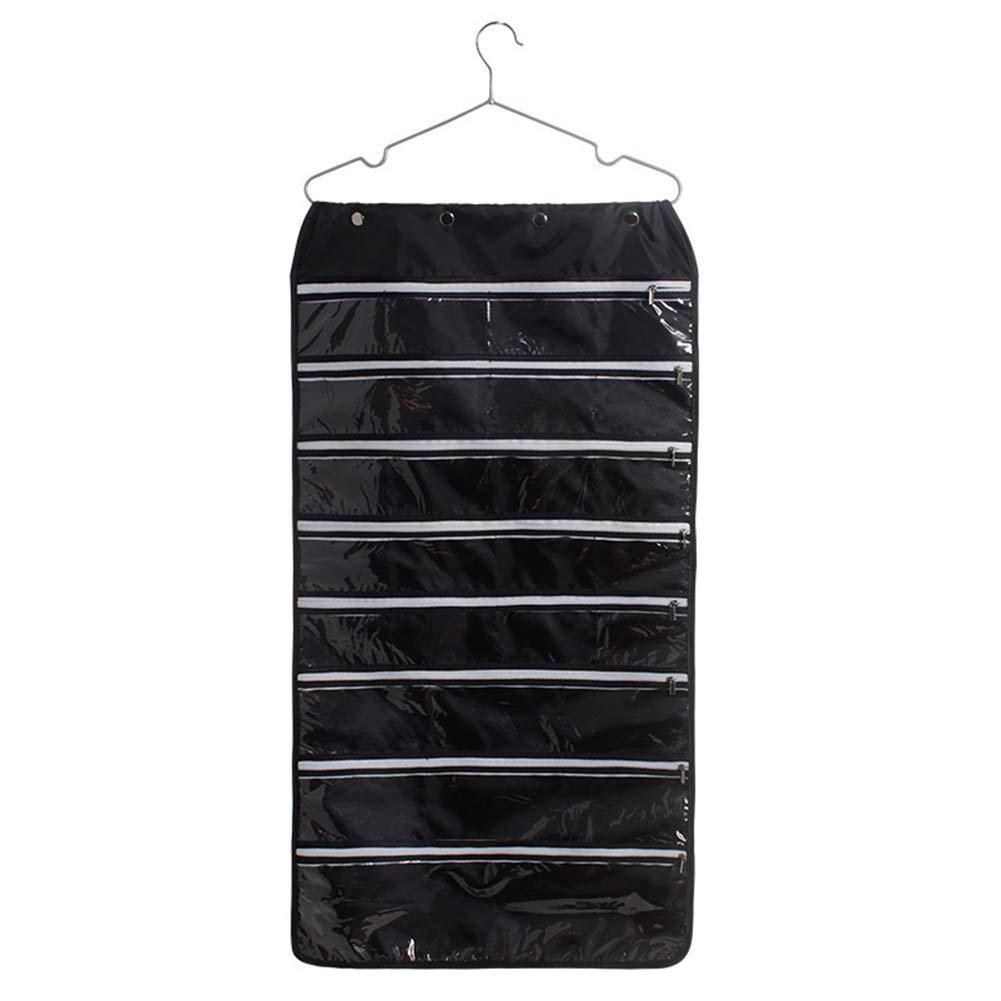 Hanging storage bag, 56 Pockets Hanging Jewelry Organizer With Oxford Dual Side Zippered Storage Pockets