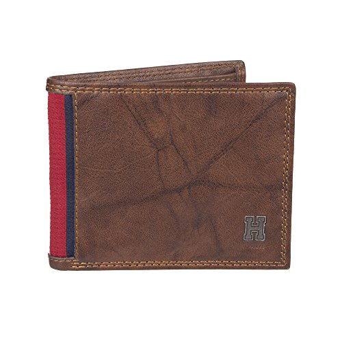 Tommy Hilfiger Men's RFID Blocking Leather Extra Capacity Traveler Wallet -saddle, 1Siz