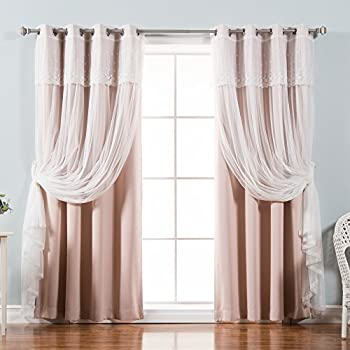 Superieur Best Home Fashion Mix U0026 Match Tulle Sheer With Attached Valance U0026 Solid  Blackout Curtain Set
