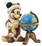 Disney Jim Shore Mickey Seasons Greetings Around World Santa Mickey with Globe Figurine