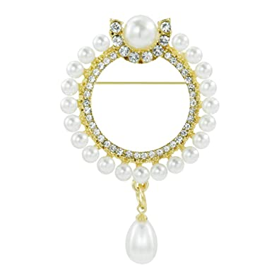 9b1a666345a Image Unavailable. Image not available for. Color: Mamfous Simulated Pearl  Round Wreath Brooch for Women with Rhinestone Jewelry Accessories