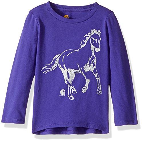 Carhartt Girls' Little Long Sleeve Tee Shirt, Glitter Horse Dark Blue, 12M