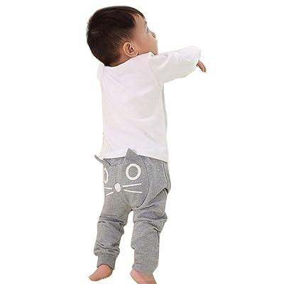 2017 Children Kids Baby Boys Girls Cute Cartoon Cat Harem Pants Trousers Pants (9 Months, Gray)