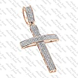 ArtLine Jewels 14K Rose Gold Plated Men's Hip-Hop Round Shape Diamond Cross Pendant W/ 18'' Inch Chain