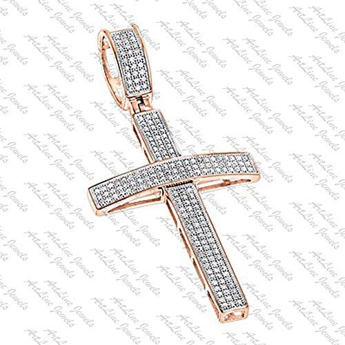 ArtLine Jewels 14K Rose Gold Plated Men's Hip-Hop Round Shape Diamond Cross Pendant W/ 18'' Inch Chain by ArtLine Jewels