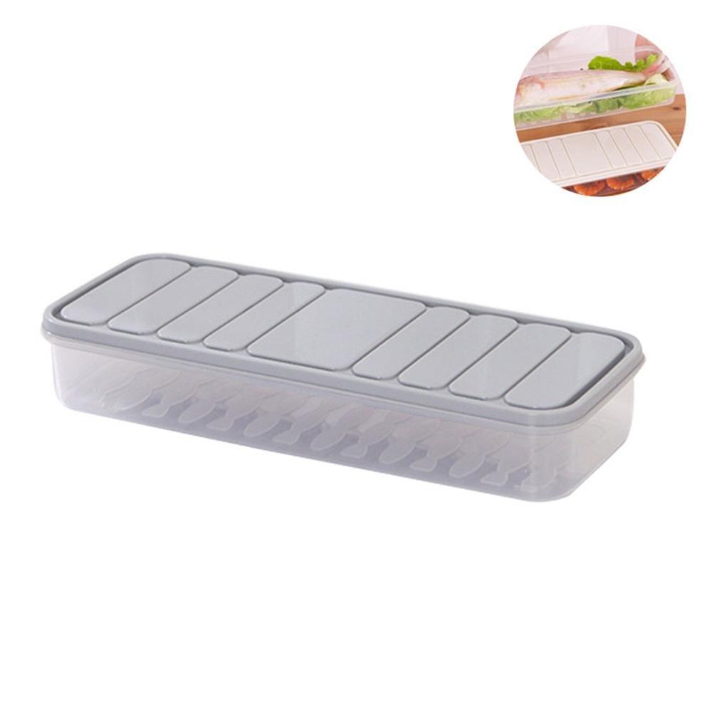 AOLVO frigorifero Storage box, contenitore di plastica per alimenti con coperchio, per armadietti cucina frigo freezer organizer da scrivania Large- Gray