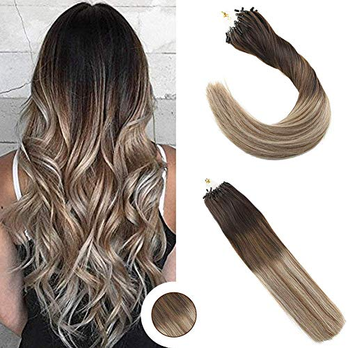 Ugeat 18inch Micro Loop Extensions Human Hair Darkest Brown Mixed Medium Brown and Bleach Blonde Silky Straight Cold Fusion Rrmy Loop Hair Extensions 100g/pack