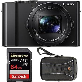 "Panasonic LUMIX DMC-LX10K Camera, 20.1 Megapixel 1"" Sensor w/ Swiss Gear Case + Sandisk Extreme Pro 64GB 95MB/s SDXC Card"