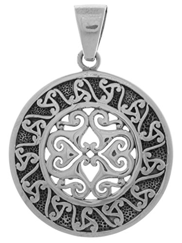 Jewelry Trends Celtic Triskele Sun Disk Sterling Silver Pendant